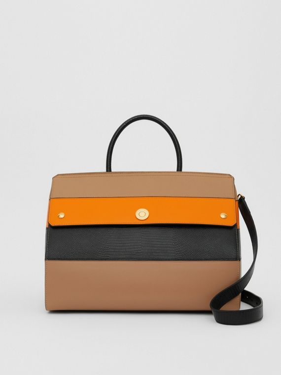 Medium Panelled Leather Elizabeth Bag in Biscuit