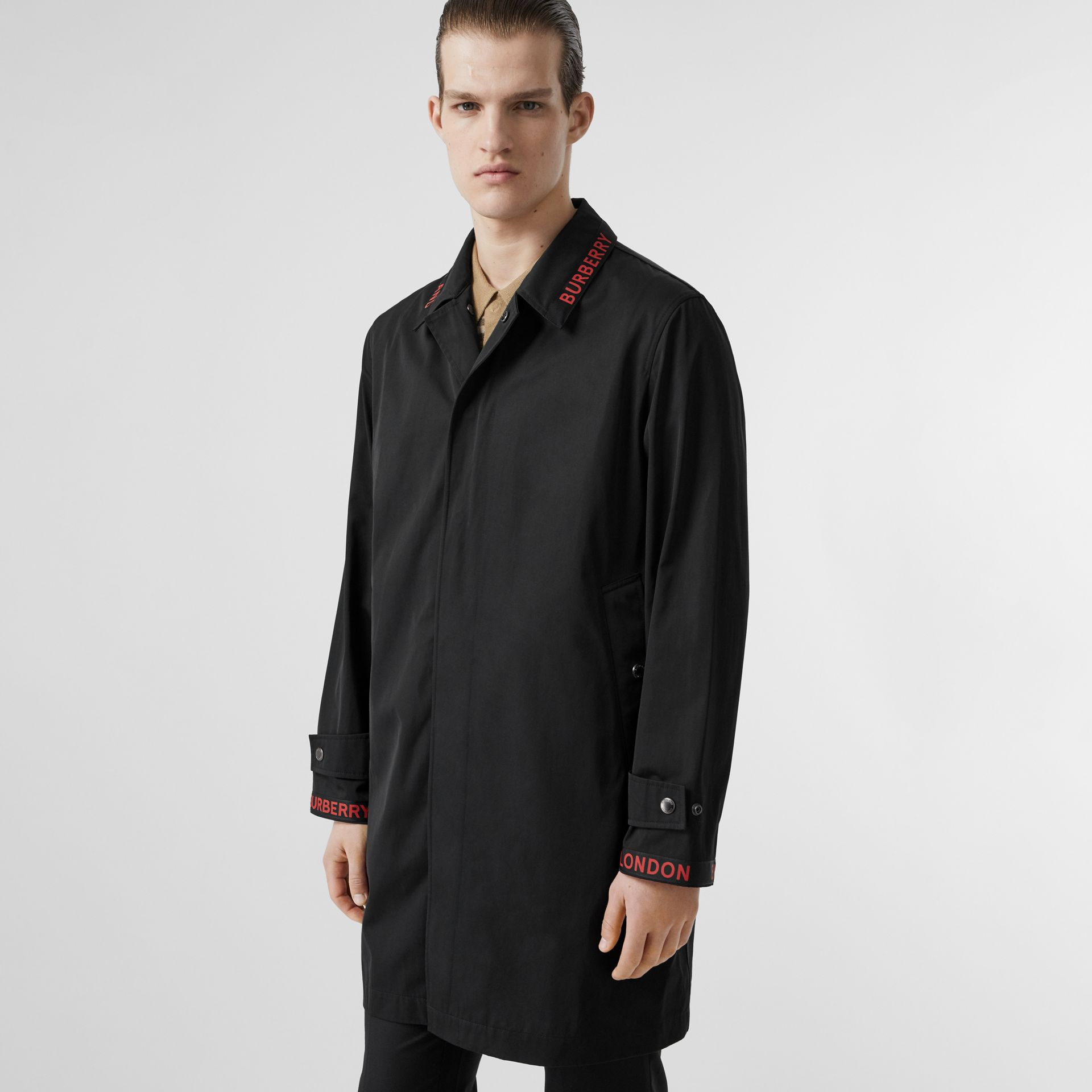 Logo Detail Technical Cotton Blend Car Coat in Black - Men | Burberry - gallery image 5