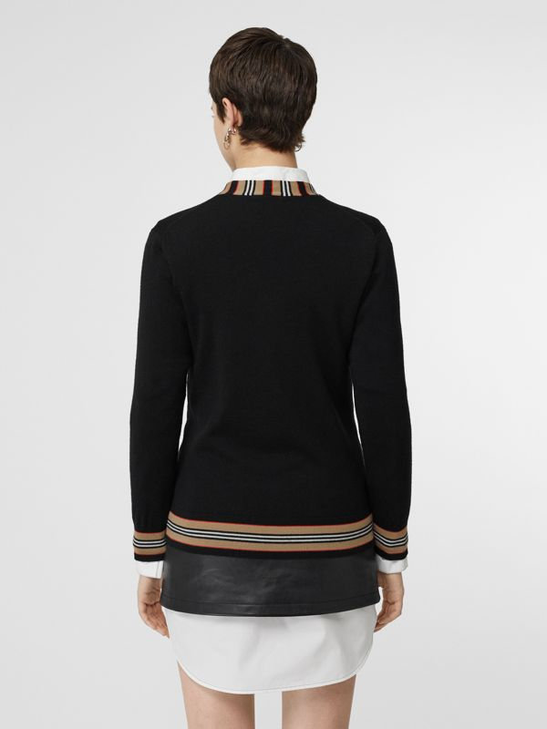 Icon Stripe Detail Merino Wool Cardigan in Black - Women | Burberry Canada - cell image 2