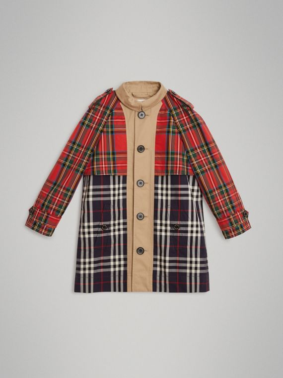 Tartan and Check Tropical Gabardine Coat in Navy