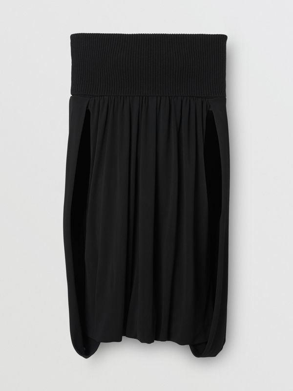 Off-the-shoulder Wool and Crepe Dress in Black - Women | Burberry - cell image 3