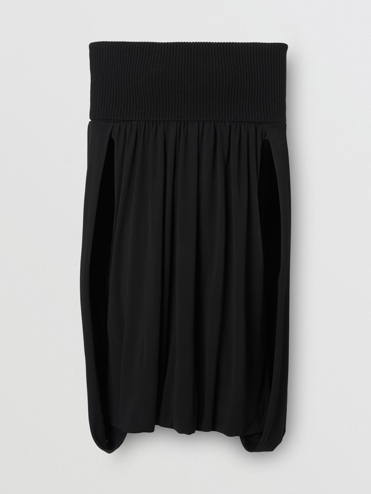 Off-the-shoulder Wool and Crepe Dress in Black