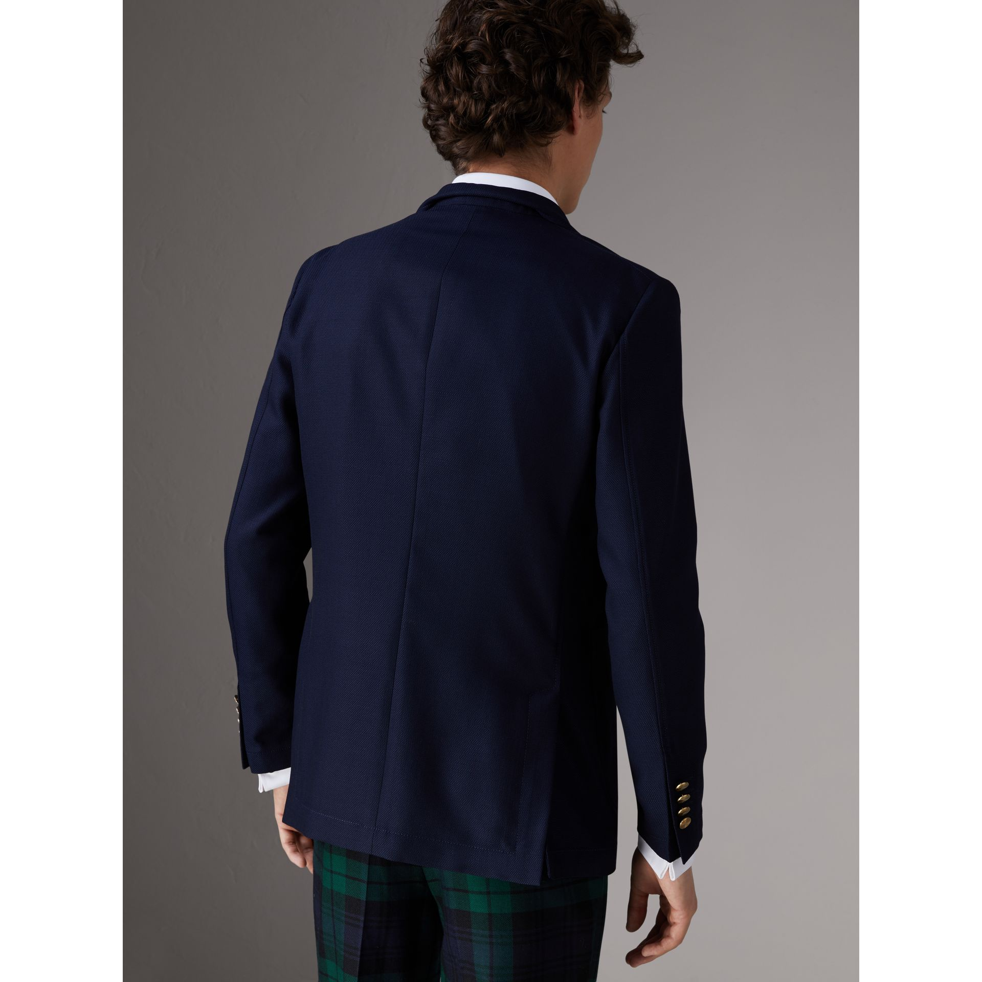 Slim Fit Wool Hopsack Tailored Jacket in Navy - Men | Burberry - gallery image 2