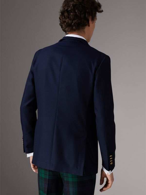 Slim Fit Wool Hopsack Tailored Jacket in Navy - Men | Burberry United Kingdom - cell image 2