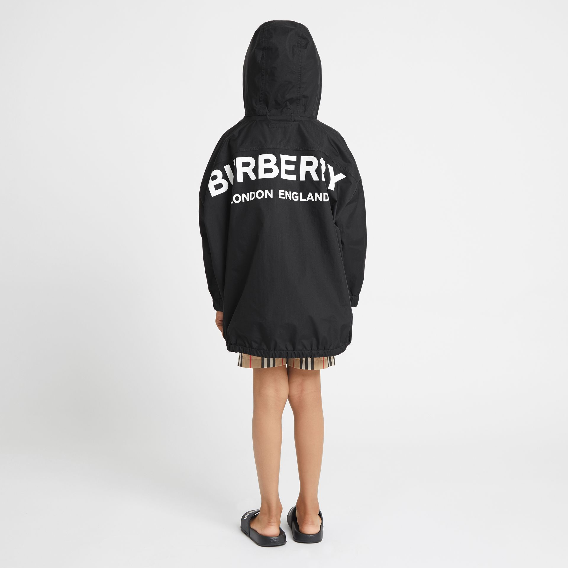 Logo Print Nylon Hooded Jacket in Black | Burberry - gallery image 2