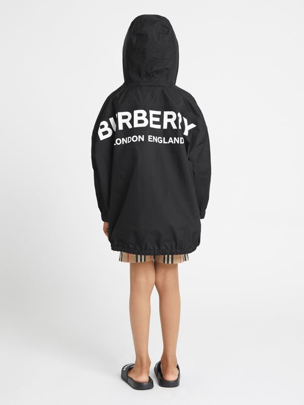 Logo Print Nylon Hooded Jacket in Black | Burberry - cell image 2