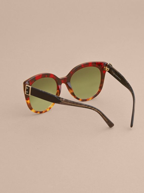 Buckle Detail Cat-eye Frame Sunglasses in Amber Yellow - Women | Burberry - cell image 3