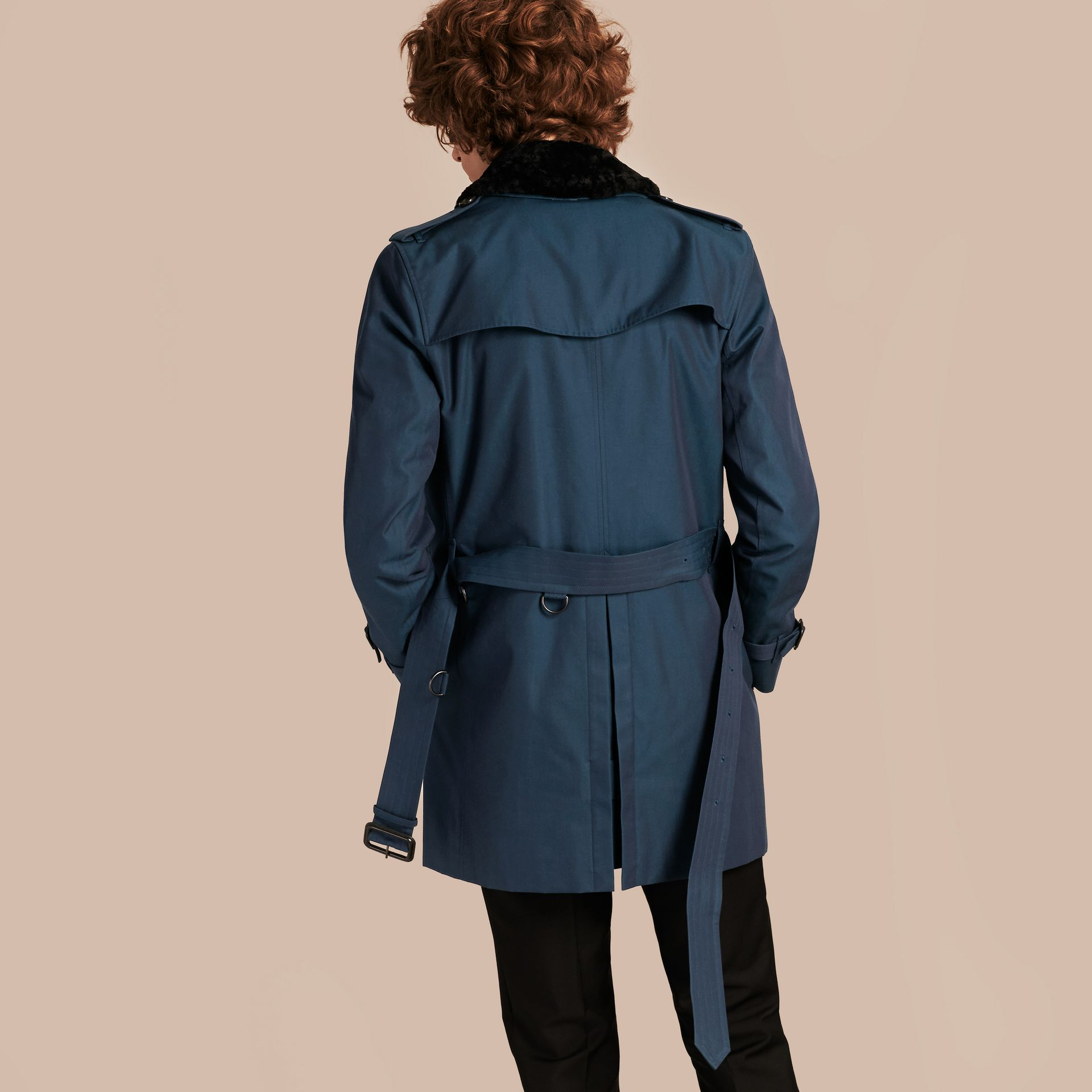 Detachable Shearling Topcollar Cotton Gabardine Trench Coat with Warmer in Teal Blue - gallery image 3