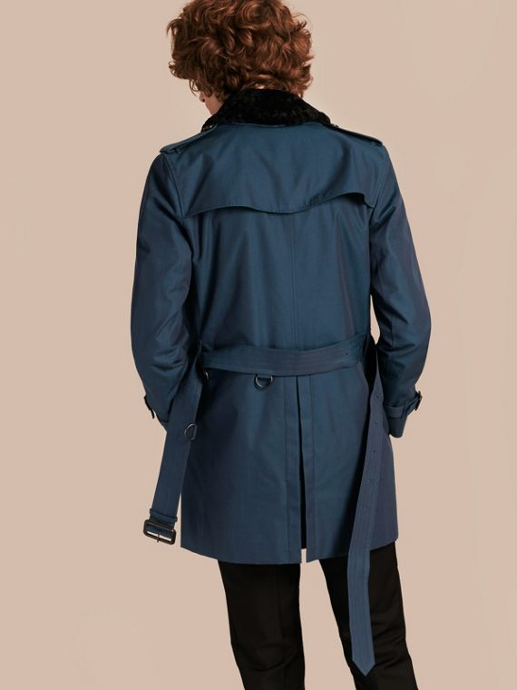 Detachable Shearling Topcollar Cotton Gabardine Trench Coat with Warmer in Teal Blue - cell image 2