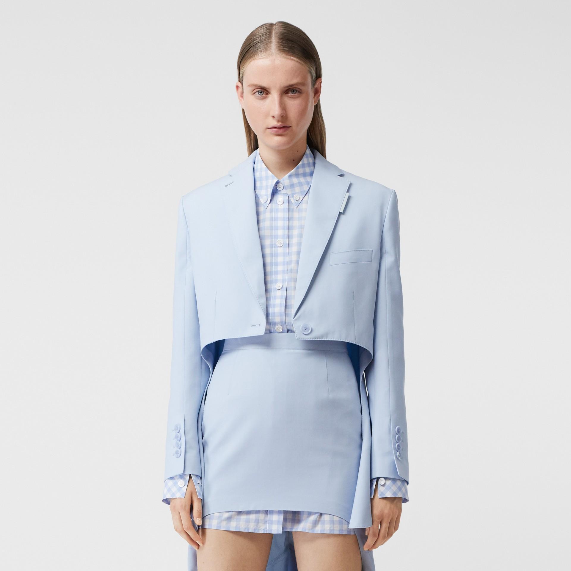 Blazer en laine avec découpe (Bleu Pâle) - Femme | Burberry Canada - photo de la galerie 5