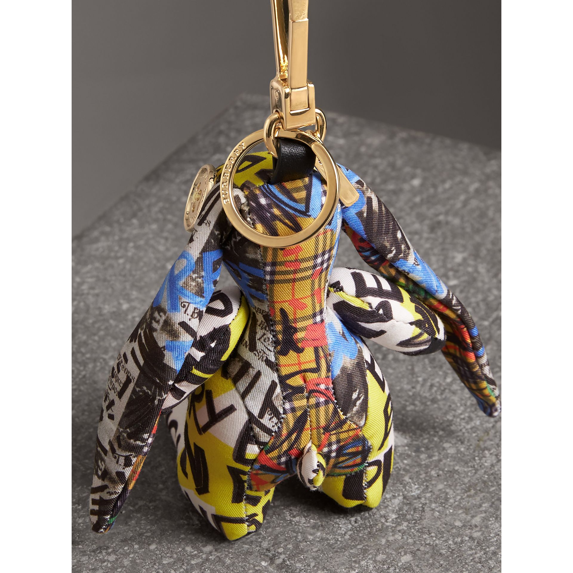 Vera The Hare Graffiti Print Cotton Charm in Yellow | Burberry United States - gallery image 3