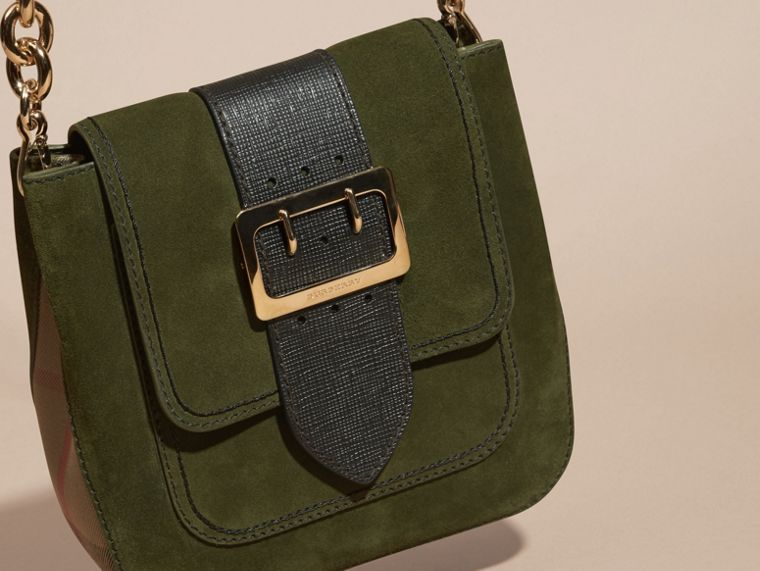 Military green The Medium Buckle Bag – Square in English Suede and House Check - cell image 4