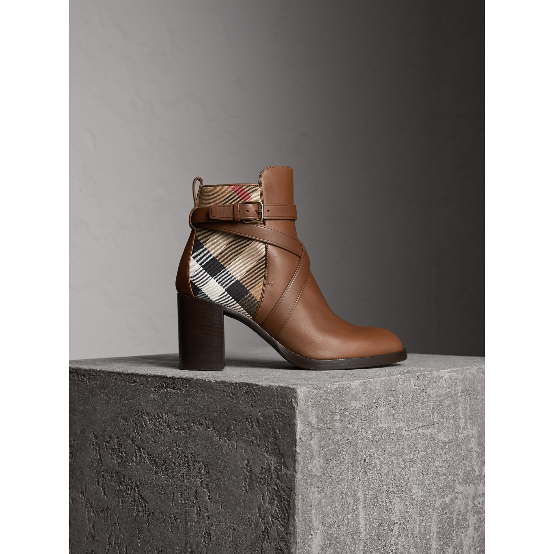 House Check and Leather Ankle Boots in Bright Camel - Women | Burberry - gallery image 1