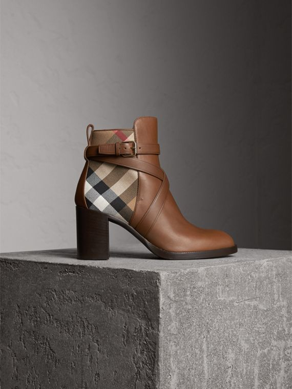 House Check and Leather Ankle Boots in Bright Camel - Women | Burberry