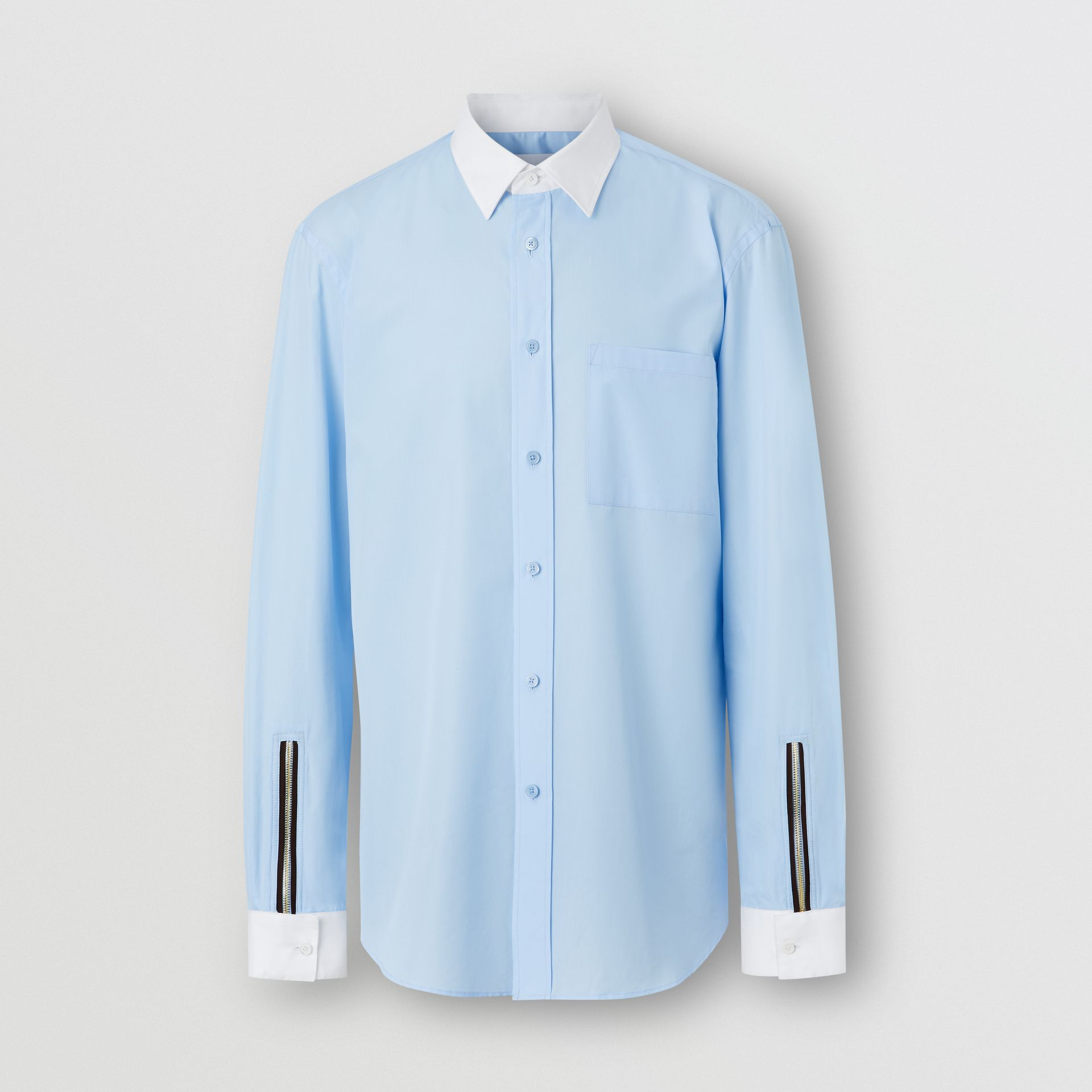 Classic Fit Zip Detail Cotton Poplin Shirt in Pale Blue - Men | Burberry - gallery image 3