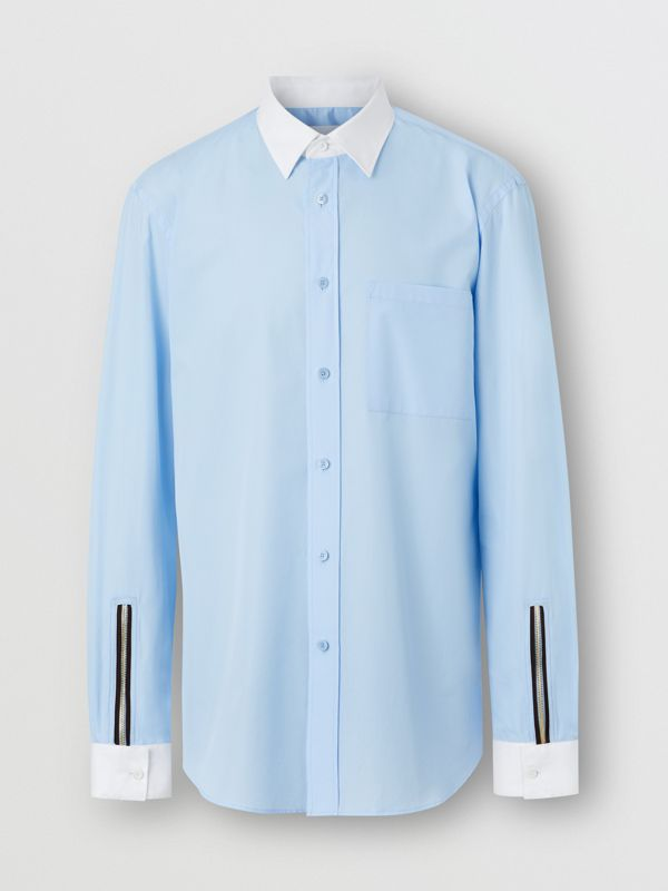 Classic Fit Zip Detail Cotton Poplin Shirt in Pale Blue - Men | Burberry - cell image 3