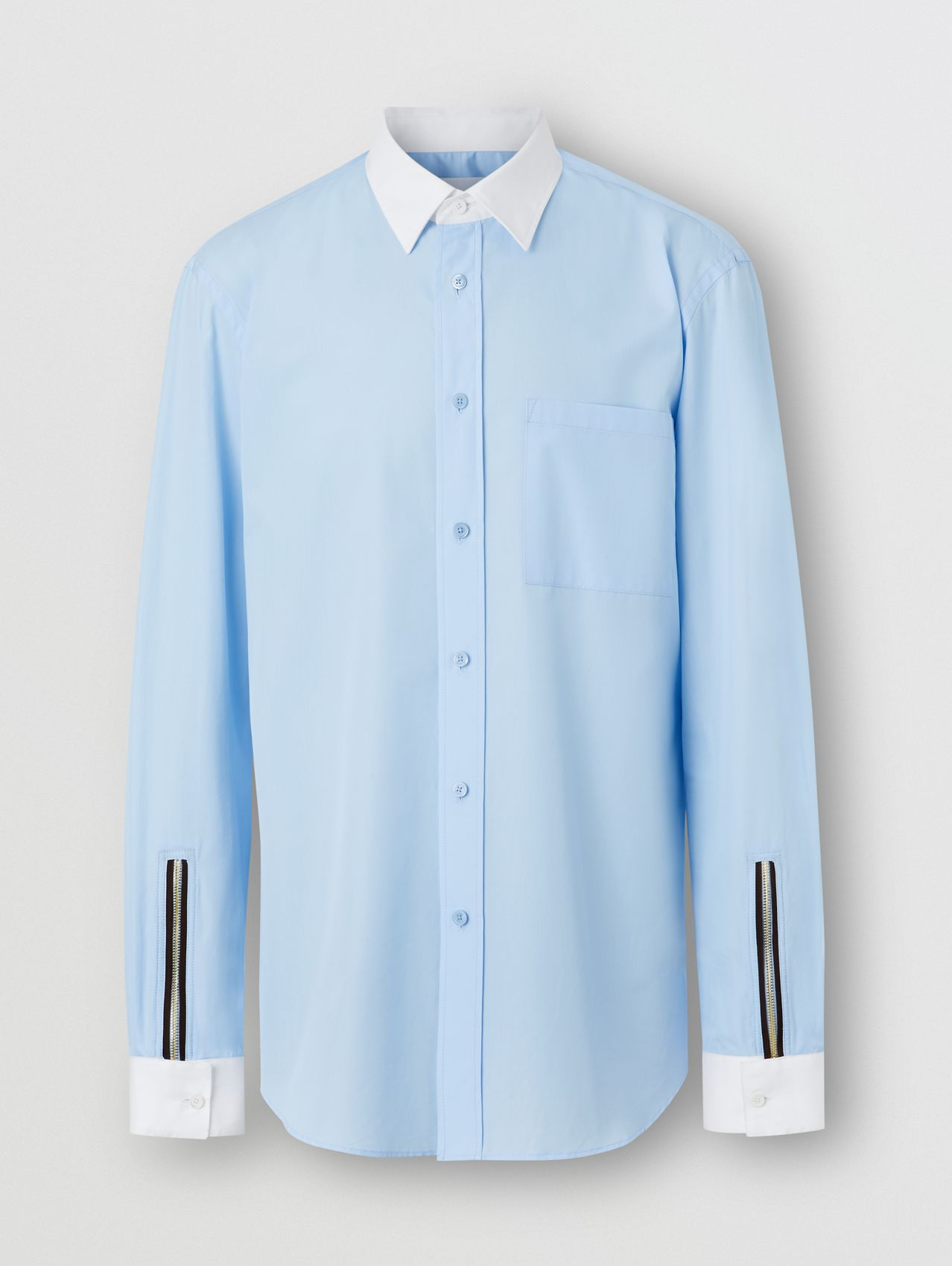 Classic Fit Zip Detail Cotton Poplin Shirt in Pale Blue
