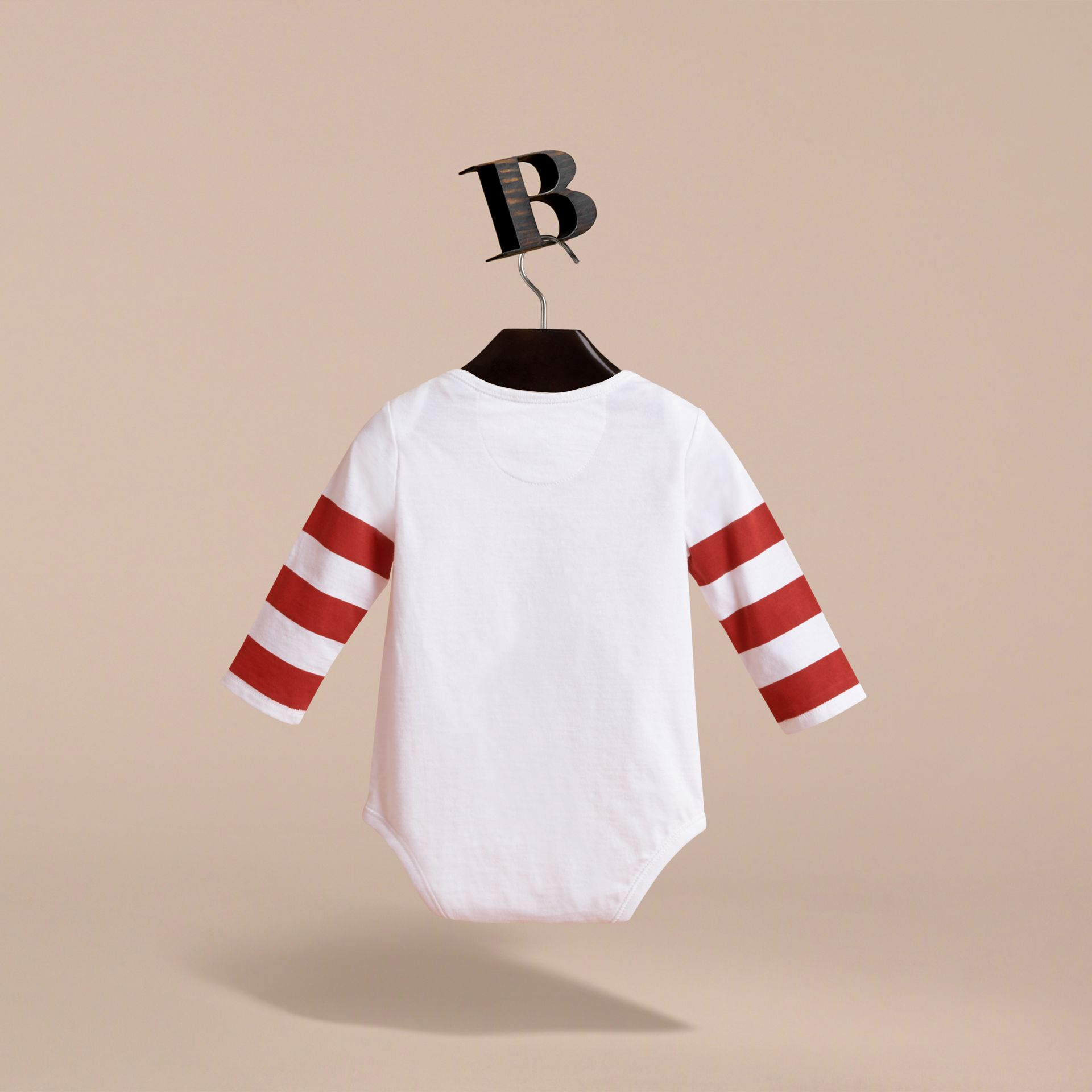 Long-sleeve London Icons Print Cotton Bodysuit in White - Children | Burberry - gallery image 3