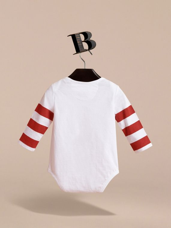 Long-sleeve London Icons Print Cotton Bodysuit in White - Children | Burberry - cell image 3