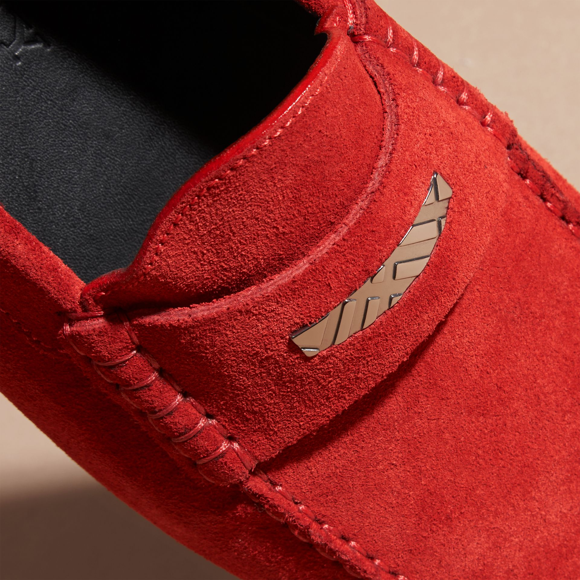 Bright rowenberry Suede Loafers with Engraved Check Detail Bright Rowenberry - gallery image 2