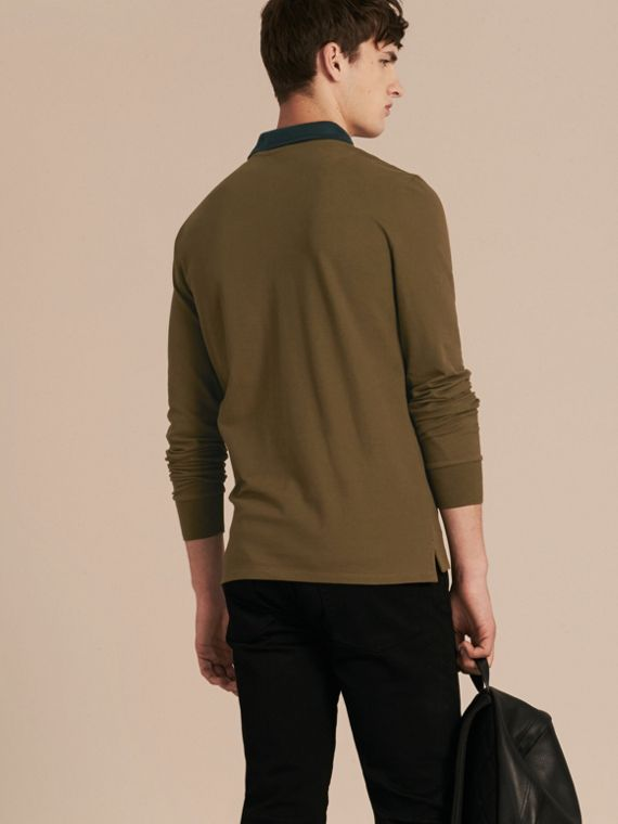 Military green/black Contrast Tipping Cotton Piqué Polo Shirt Military Green/black - cell image 2