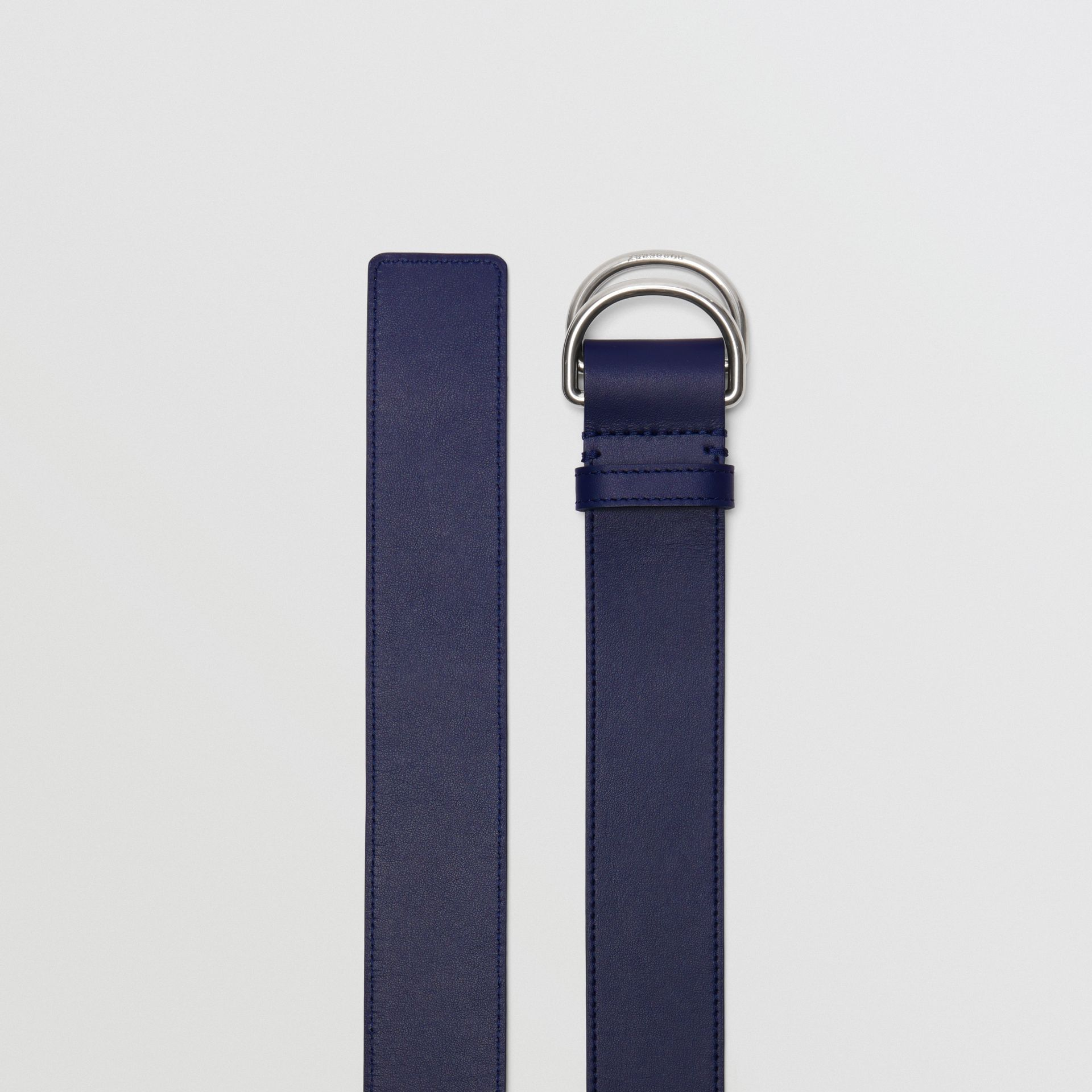 Leather Double D-ring Belt in Regency Blue/mauve - Women | Burberry - gallery image 4