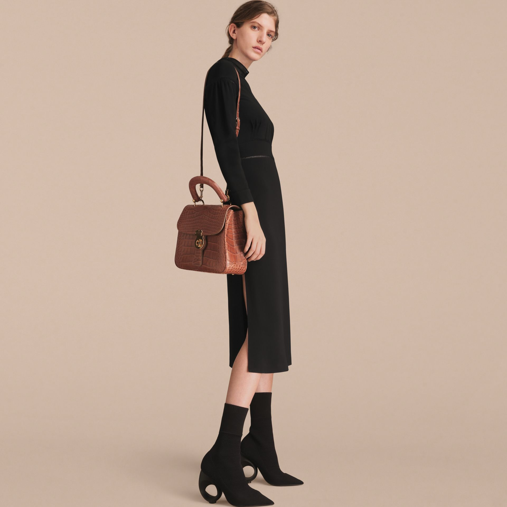The Medium DK88 Top Handle Bag in Alligator in Tan - Women | Burberry Singapore - gallery image 7