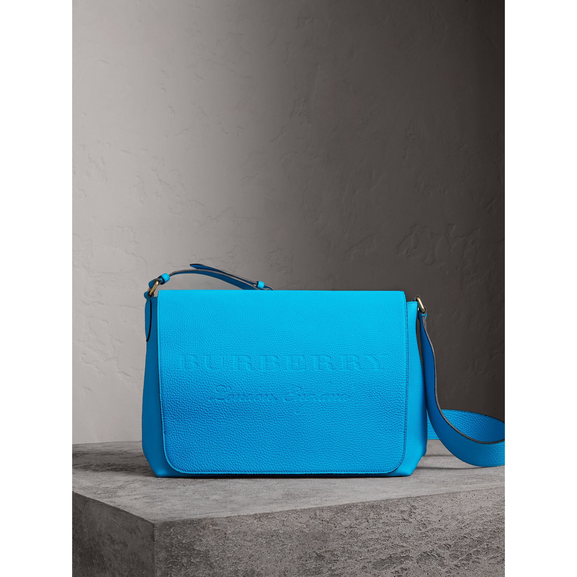 Large Embossed Leather Messenger Bag in Neon Blue | Burberry United Kingdom - gallery image 0