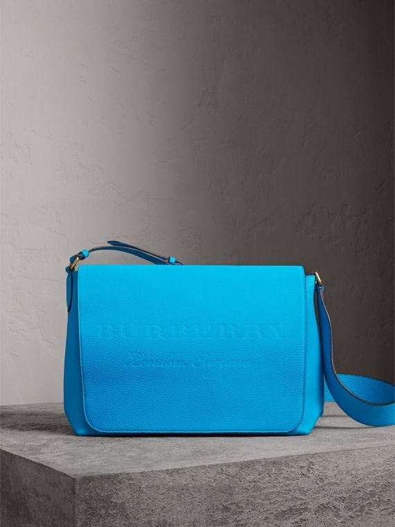 Large Embossed Leather Messenger Bag in Neon Blue