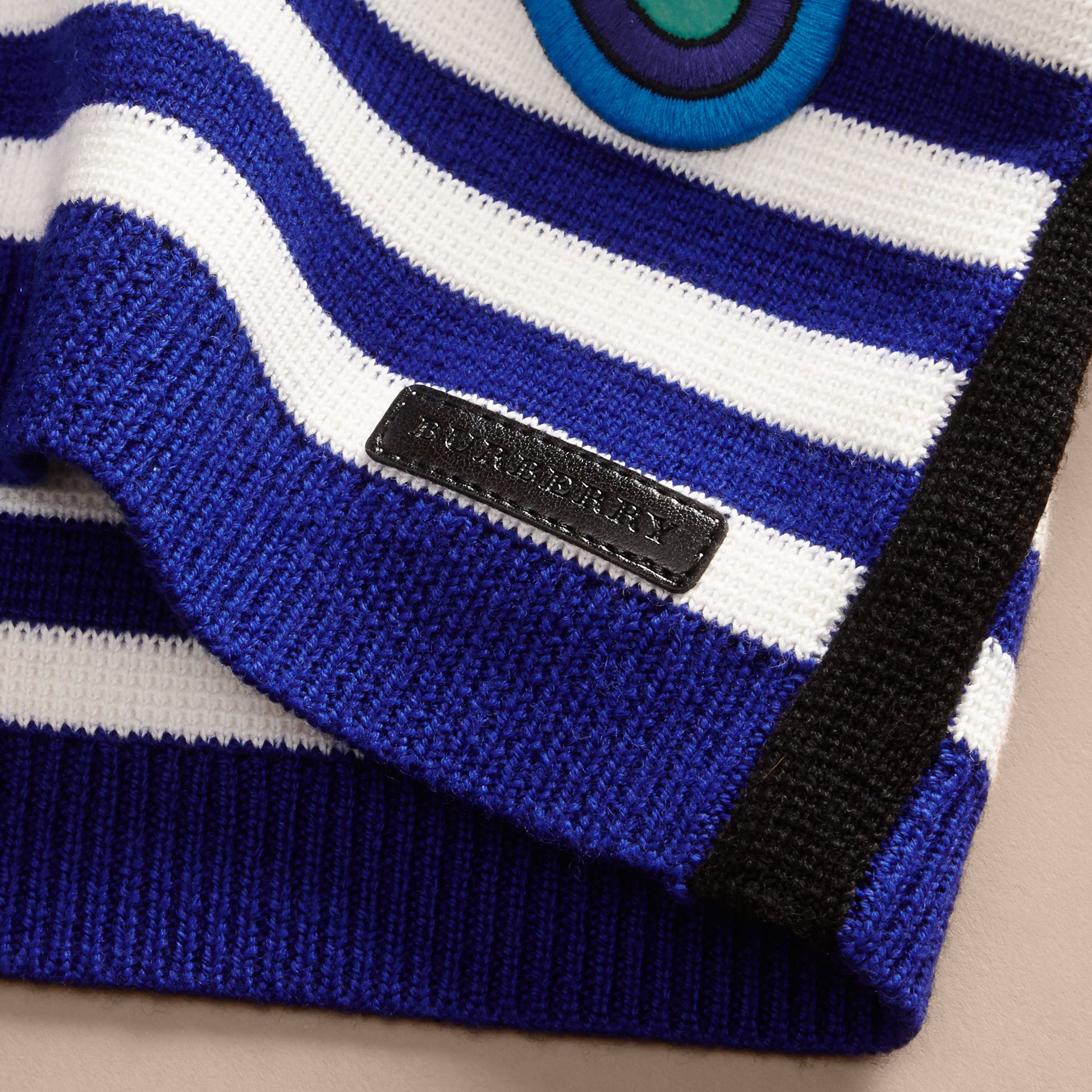 Striped Cotton Merino Wool Sweater with Appliqué - gallery image 2