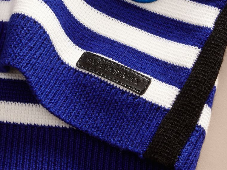 Striped Cotton Merino Wool Sweater with Appliqué - cell image 1