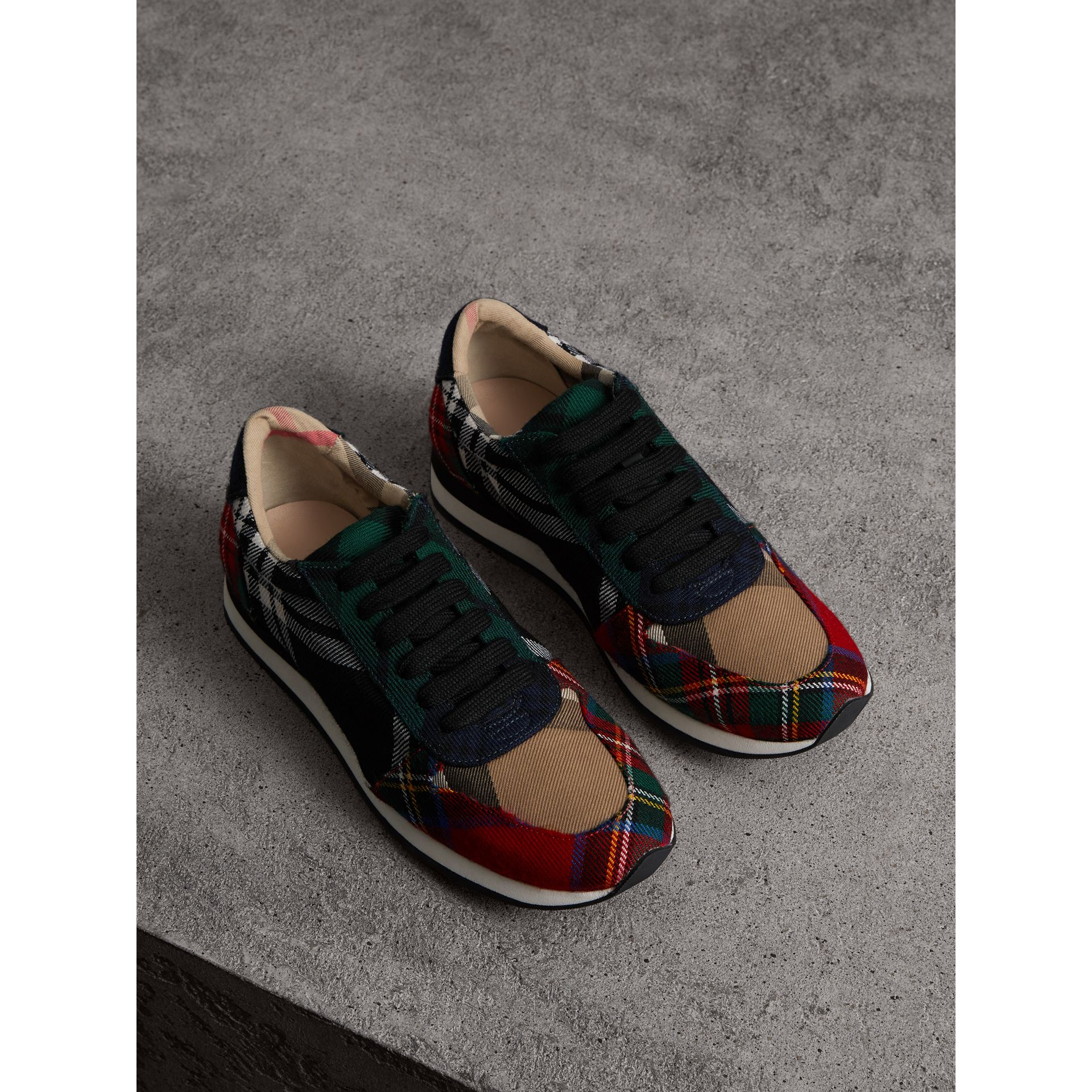 Tartan Wool Trainers in Black/bright Red - Women | Burberry Canada - gallery image 1