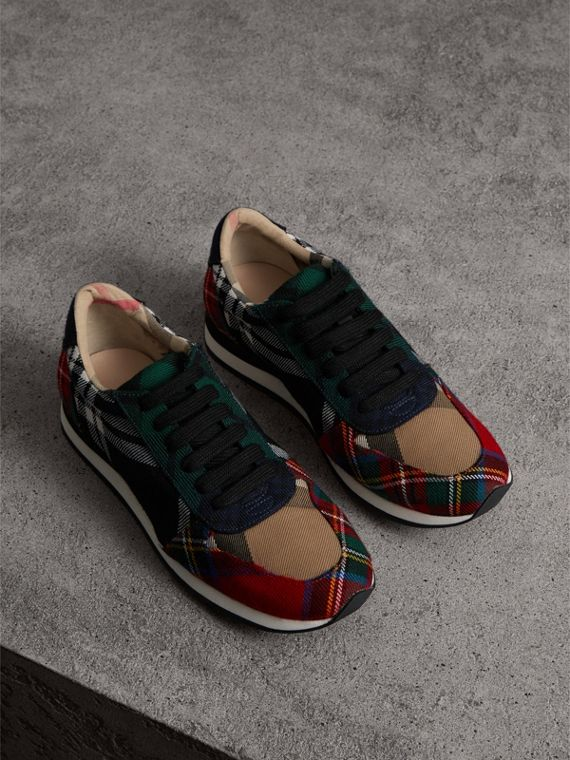Tartan Wool Trainers in Black/bright Red