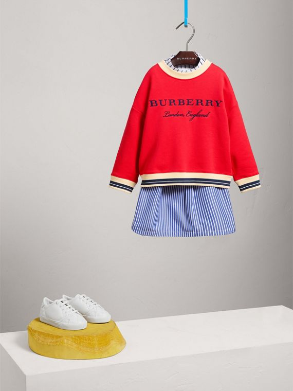 Striped Hem Embroidered Cotton Jersey Sweatshirt in Bright Orange Red - Girl | Burberry - cell image 2
