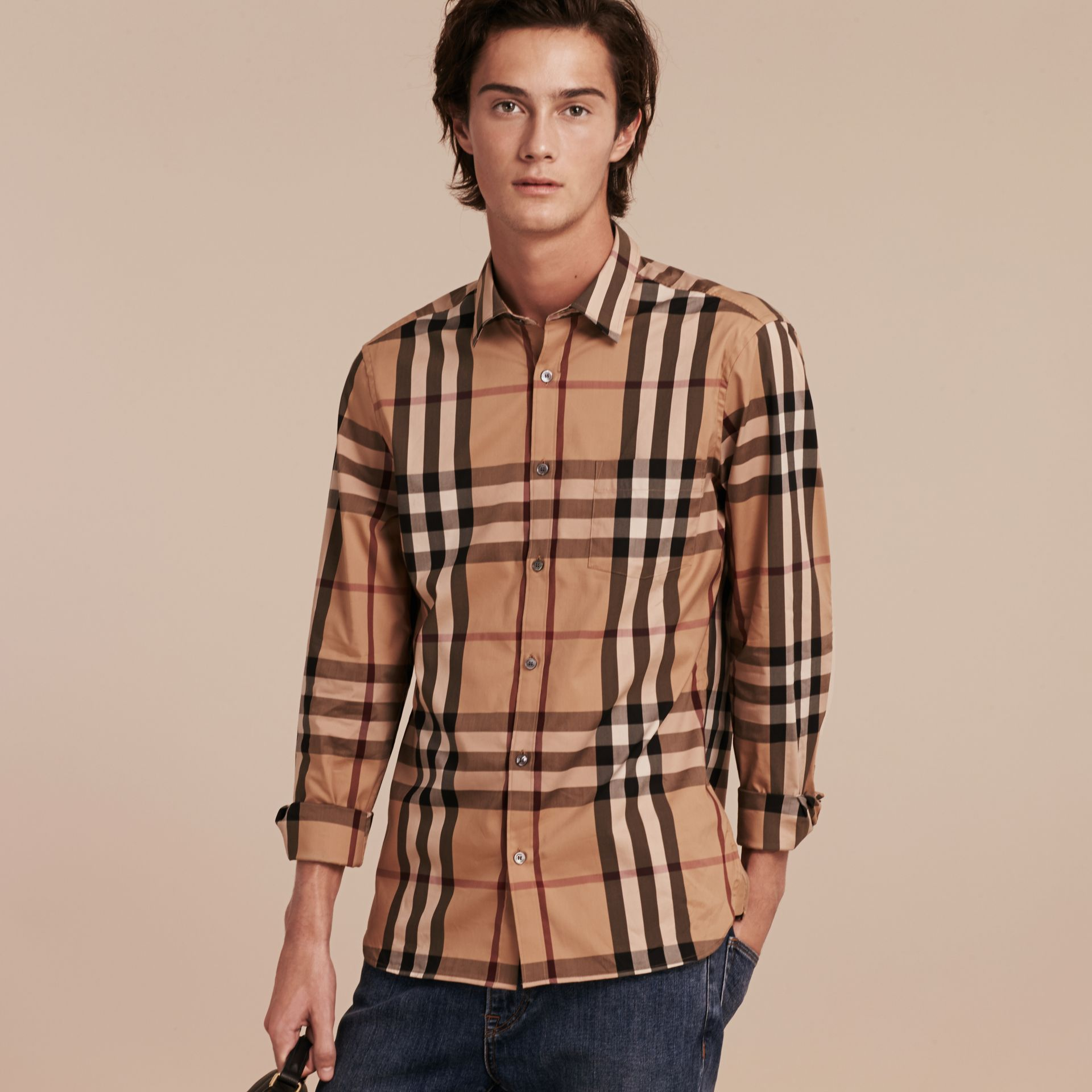 Check Stretch Cotton Shirt in Camel - gallery image 6