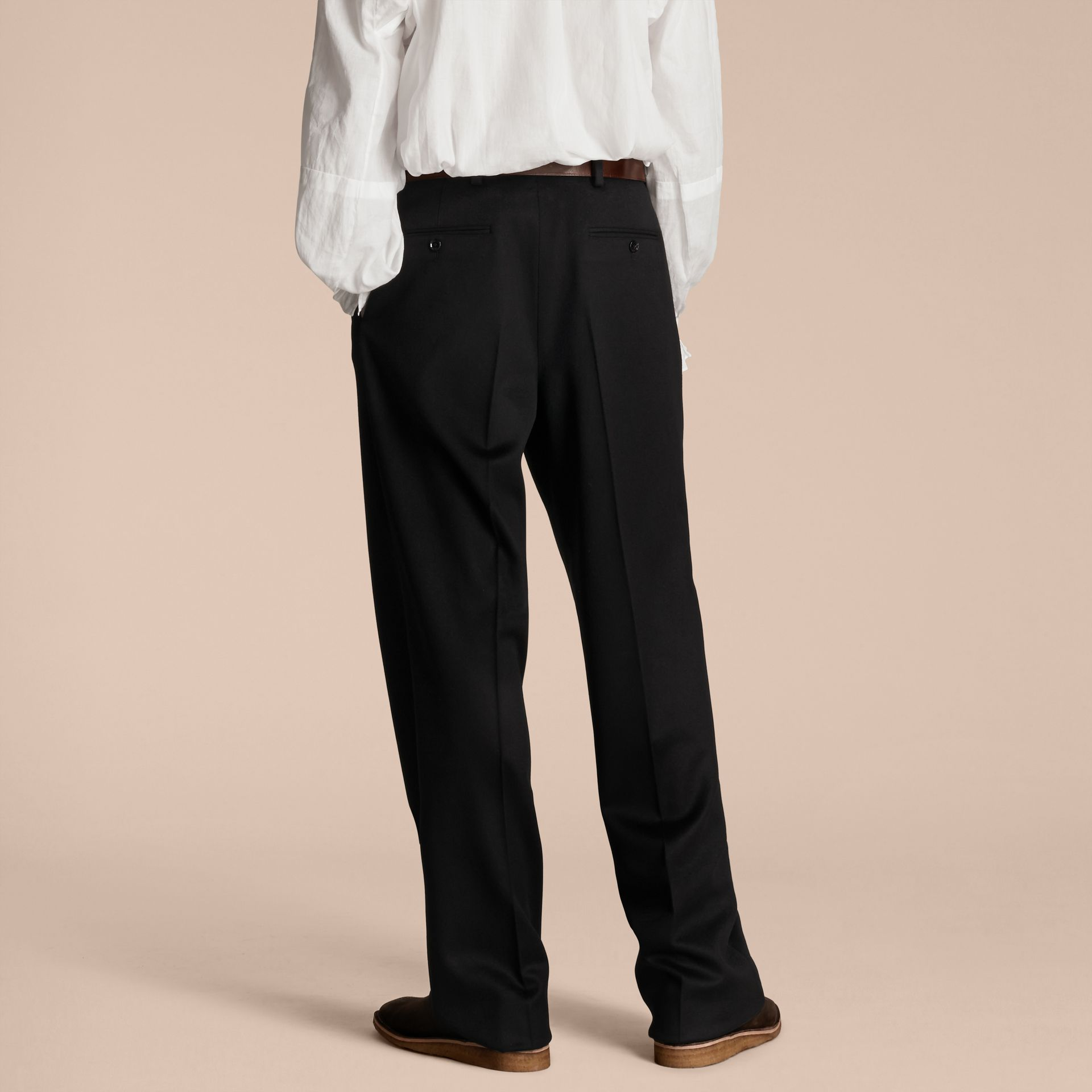Navy black Wide-leg English Moleskin Wool Trousers - gallery image 3