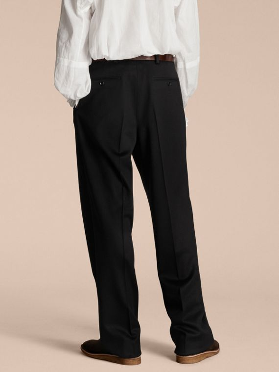 Navy black Wide-leg English Moleskin Wool Trousers - cell image 2