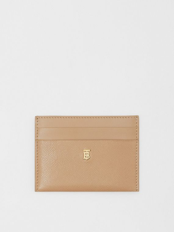Monogram Motif Leather Card Case in Archive Beige