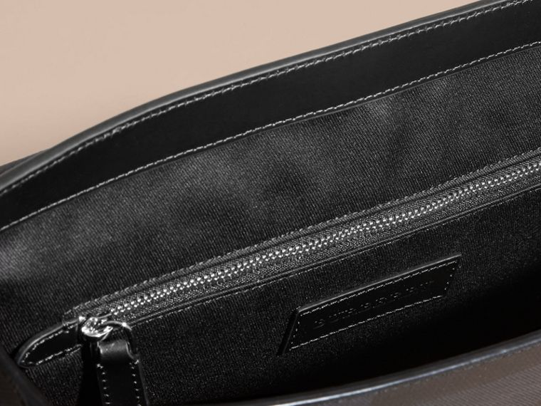 Medium Leather Trim London Check Messenger Bag in Navy/black - Men | Burberry - cell image 4
