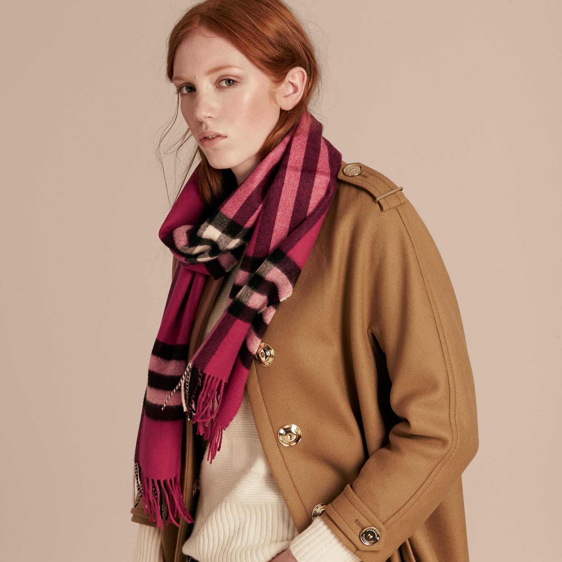 The Classic Cashmere Scarf in Check Fuchsia Pink - gallery image 3