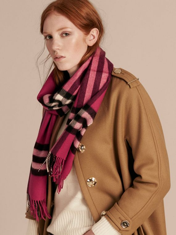 The Classic Cashmere Scarf in Check in Fuchsia Pink - cell image 2