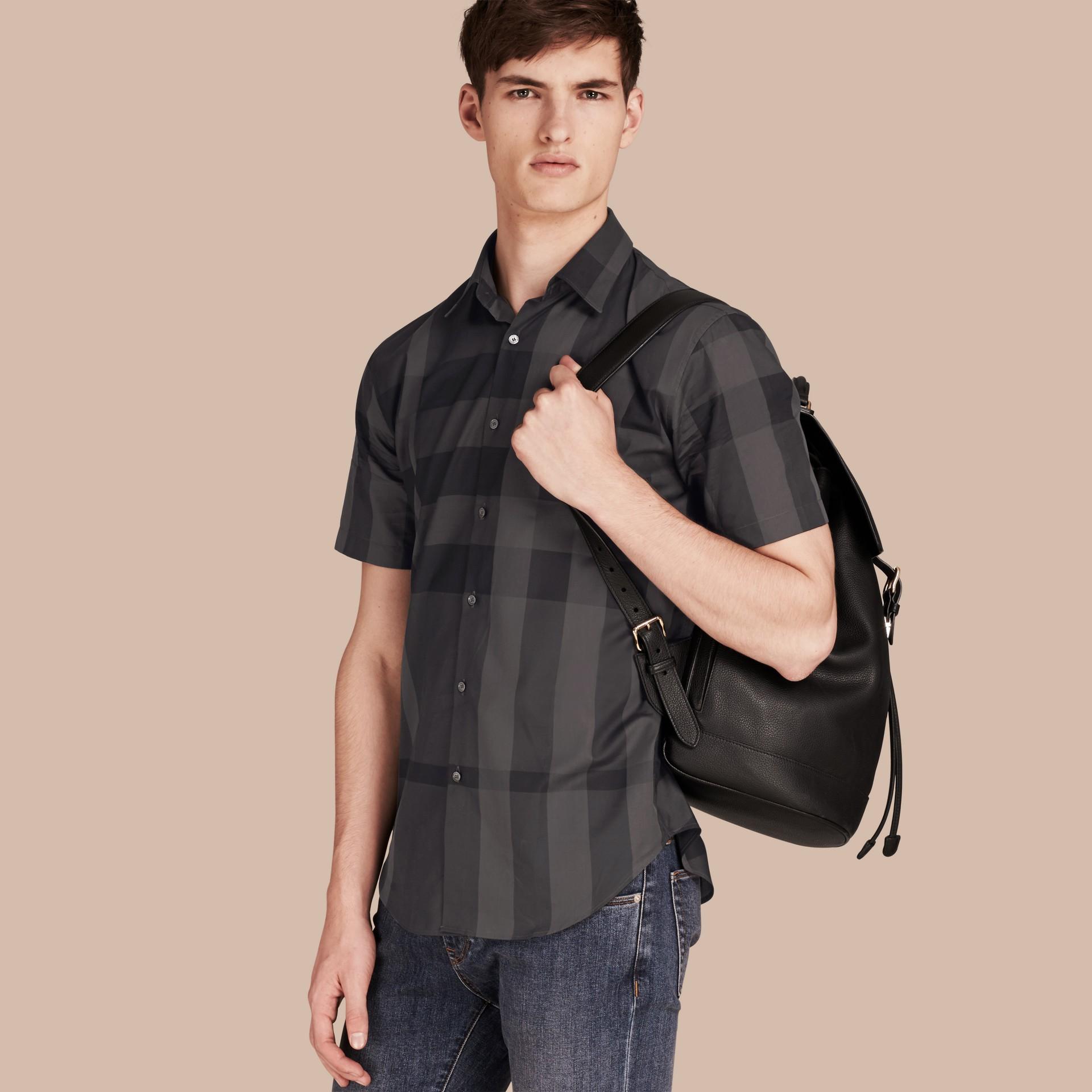 Gris marengo Camisa de manga corta en algodón con estampado de checks Gris Marengo - imagen de la galería 1