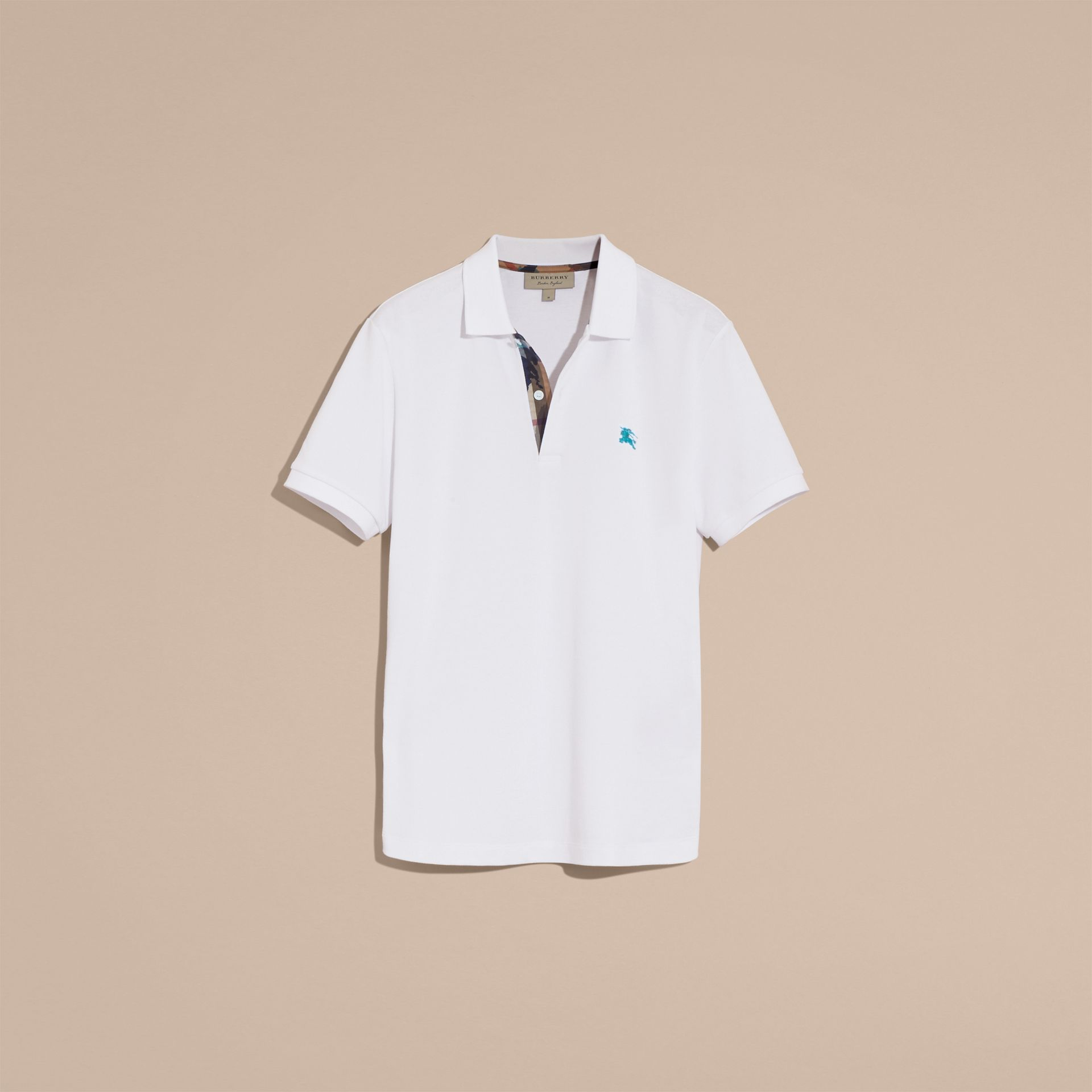 Printed Check Placket Cotton Piqué Polo Shirt in White - gallery image 4