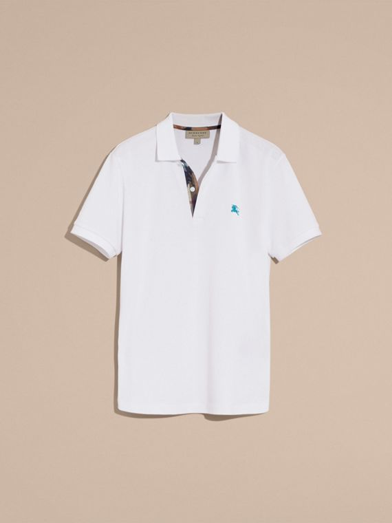 Printed Check Placket Cotton Piqué Polo Shirt in White - cell image 3