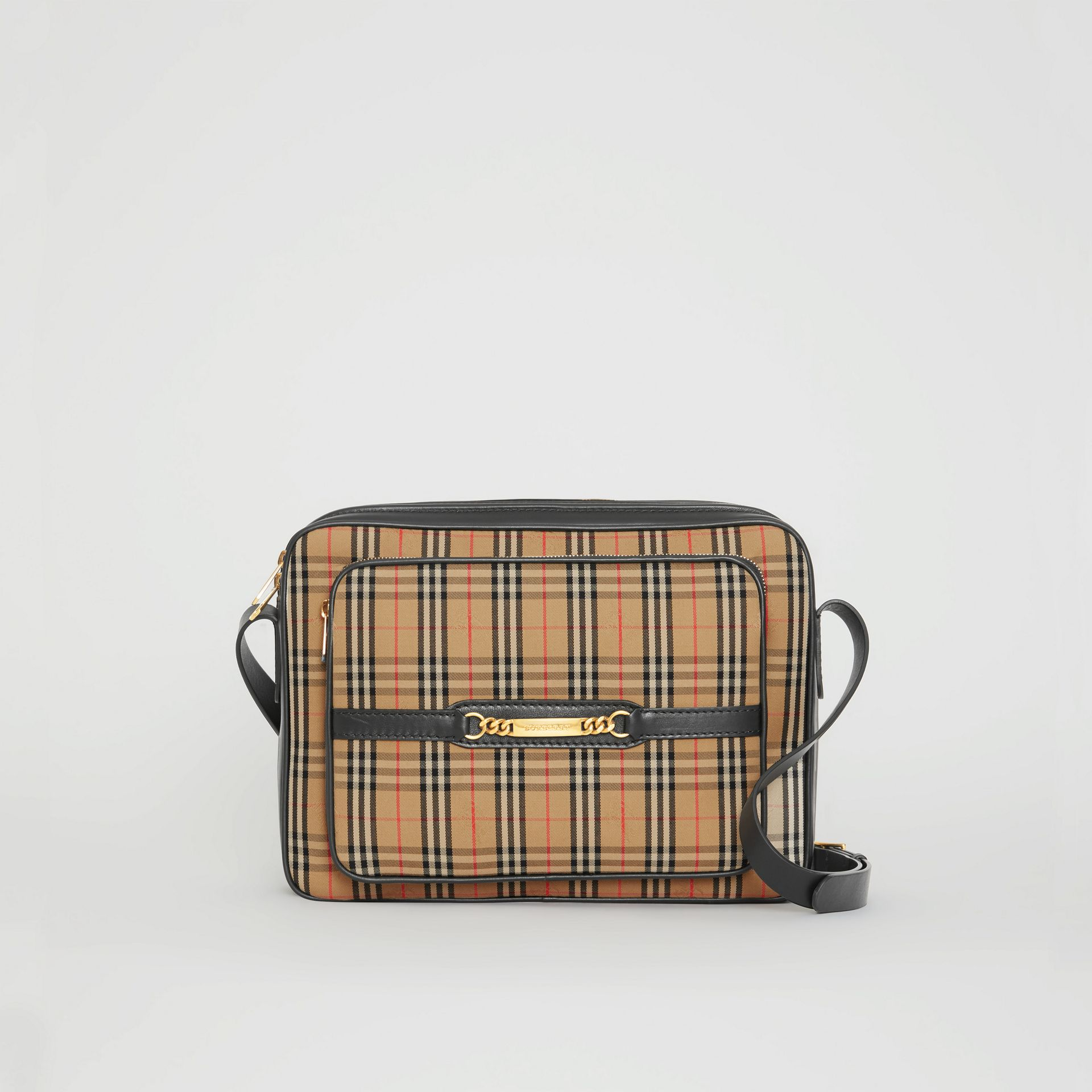 The Large 1983 Check Link Camera Bag in Black - Men | Burberry - gallery image 0