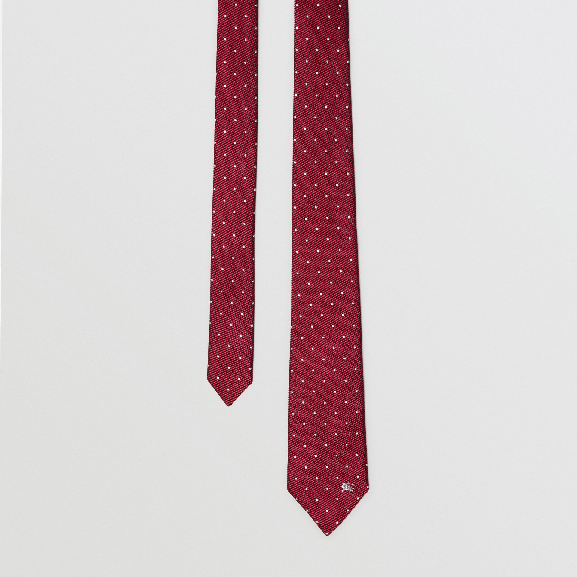 Modern Cut Pin Dot Silk Tie in Crimson Pink - Men | Burberry - gallery image 0