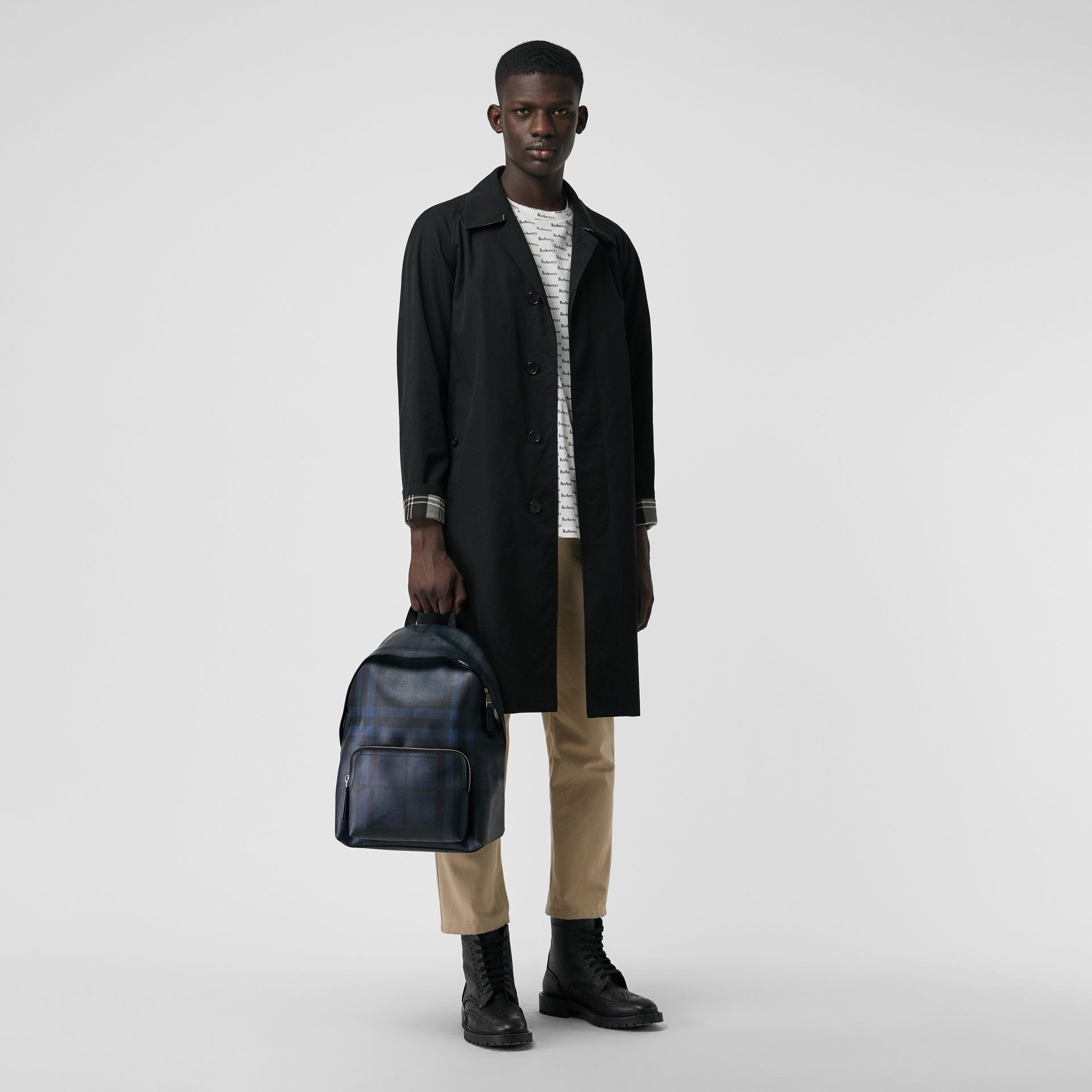 Leather Trim London Check Backpack in Navy/black - Men | Burberry United States - gallery image 2