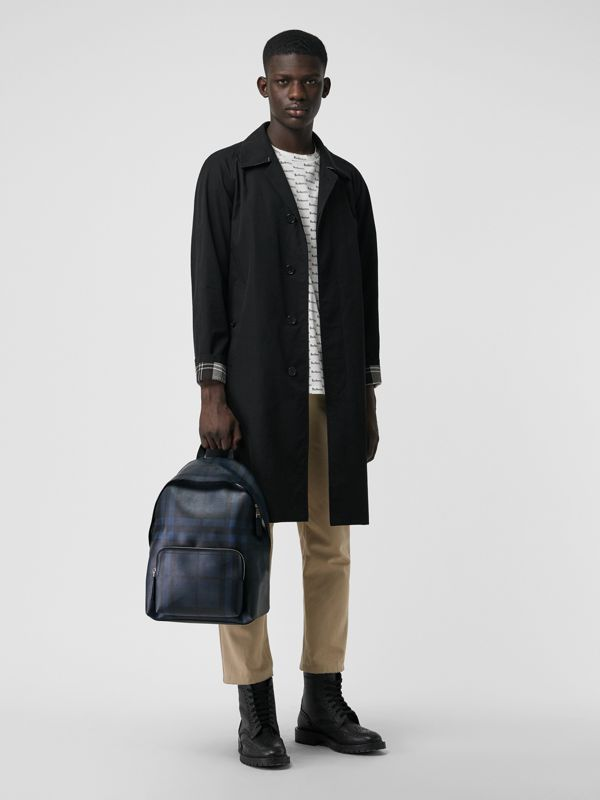 Leather Trim London Check Backpack in Navy/black - Men | Burberry United States - cell image 2