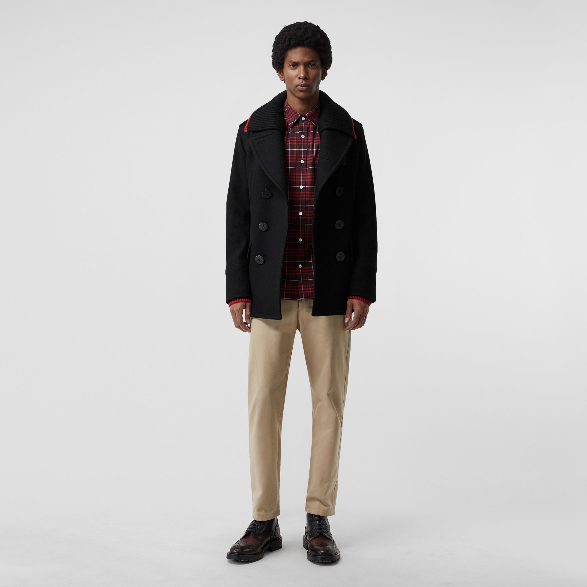 Chemise en coton extensible à motif check (Bordeaux) - Homme | Burberry - photo de la galerie 4