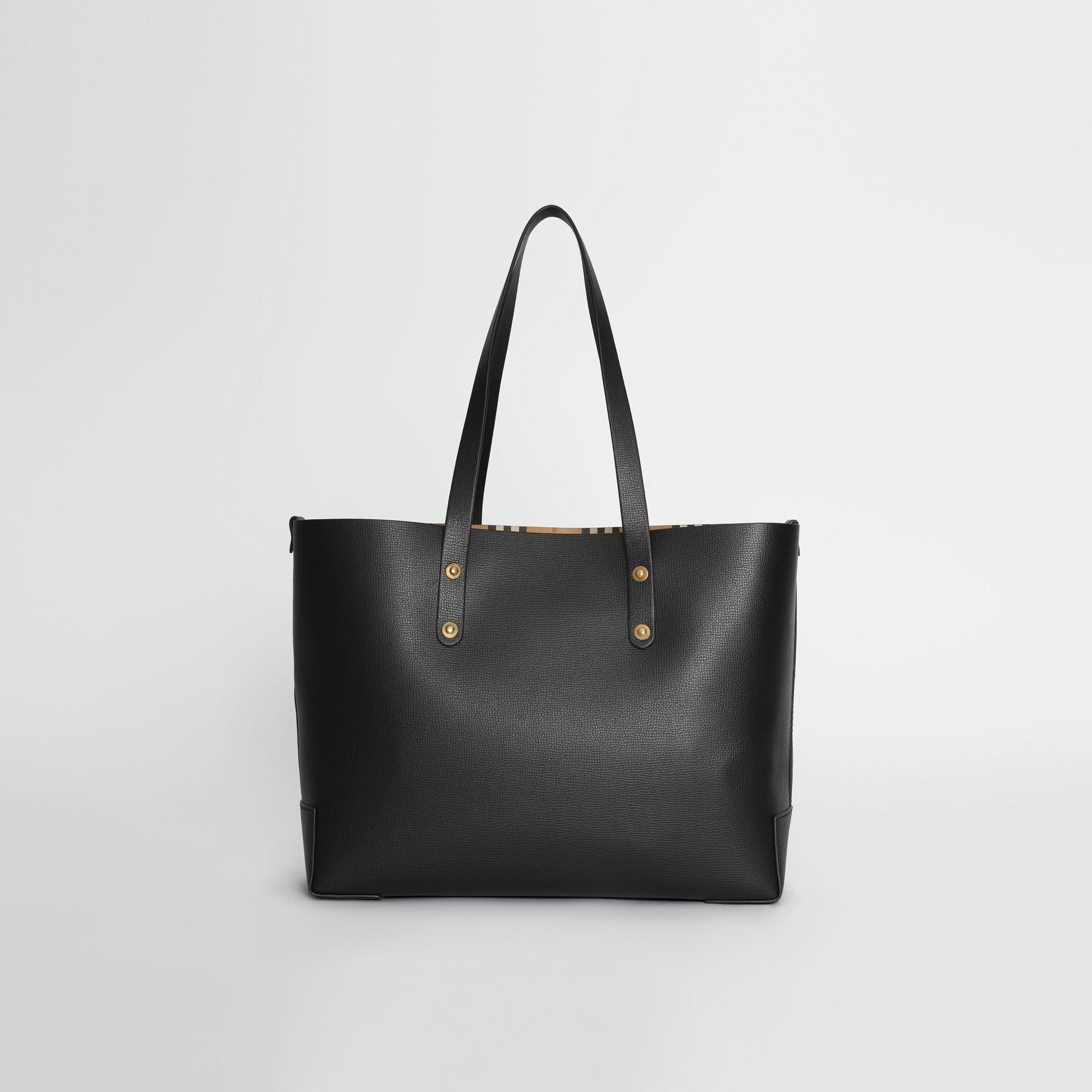 Small Embossed Crest Leather Tote in Black | Burberry Australia - gallery image 7